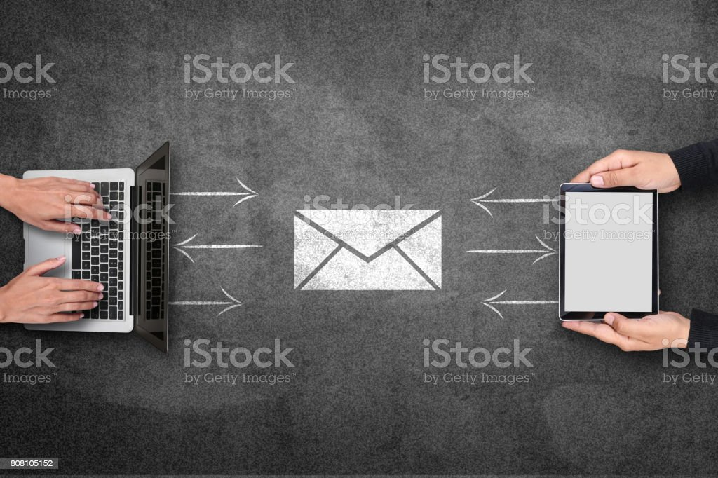 Concept of email receiving and sending on blackboard stock photo