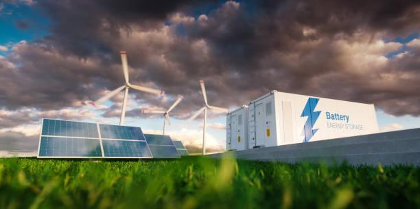 Concepto de sistema de almacenamiento de energía. Energías renovables - energía solar fotovoltaica, aerogeneradores y contenedor de batería del Li-ion de naturaleza fresca. Render 3D. - foto de stock