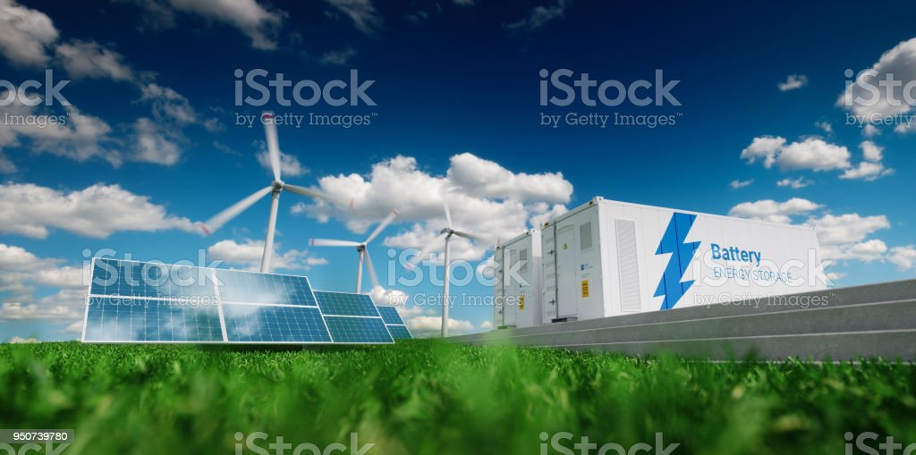 Concept of energy storage system. Renewable energy - photovoltaics, wind turbines and Li-ion battery container in fresh nature. 3d rendering. stock photo