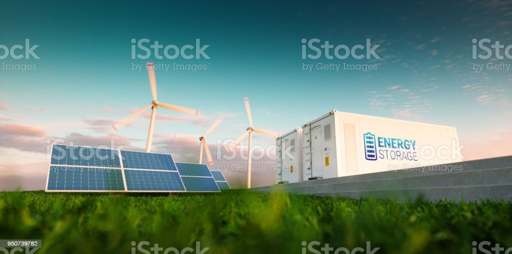 Concept of energy storage system. Renewable energy - photovoltaics, wind turbines and Li-ion battery container in morning fresh nature. 3d rendering. stock photo
