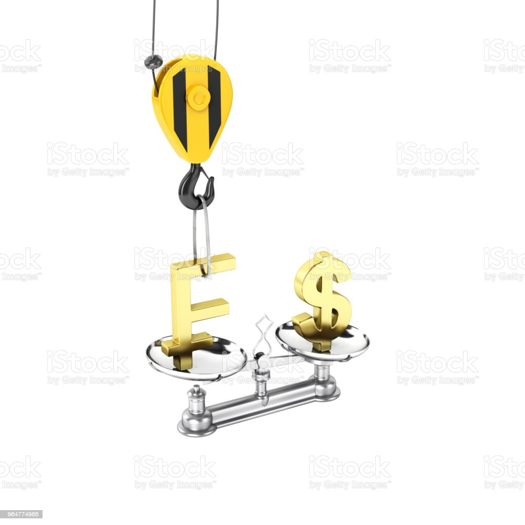 Concept of exchange rate support dollar vs franc The crane pulls the franc up and lowers the dollar on white background 3d without shadow royalty-free stock photo