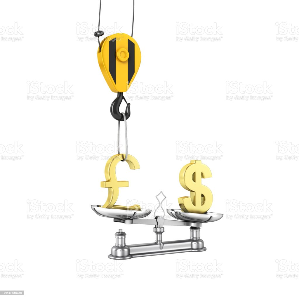 Concept of exchange rate support dollar vs pound The crane pulls the pound up and lowers the dollar on white background without shadow 3d royalty-free stock photo