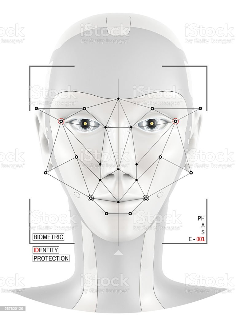Concept of face identification stock photo