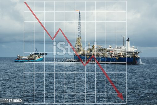 Concept of falling market in oil marine industry with with downward graphics. Oil price decreases. FPSO tanker with supply diving vessel on oilfield.