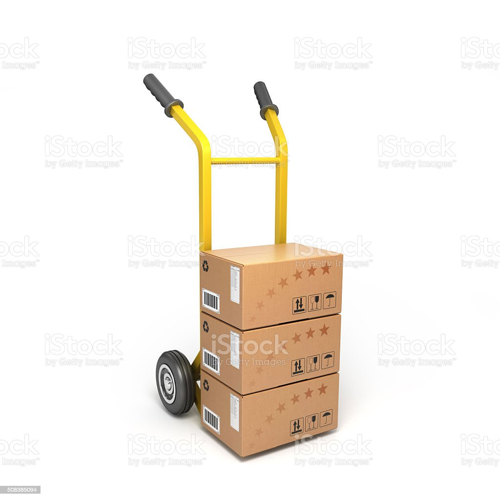 Concept Of Fast Delivery Boxes On A Yellow Trolley stock photo ...