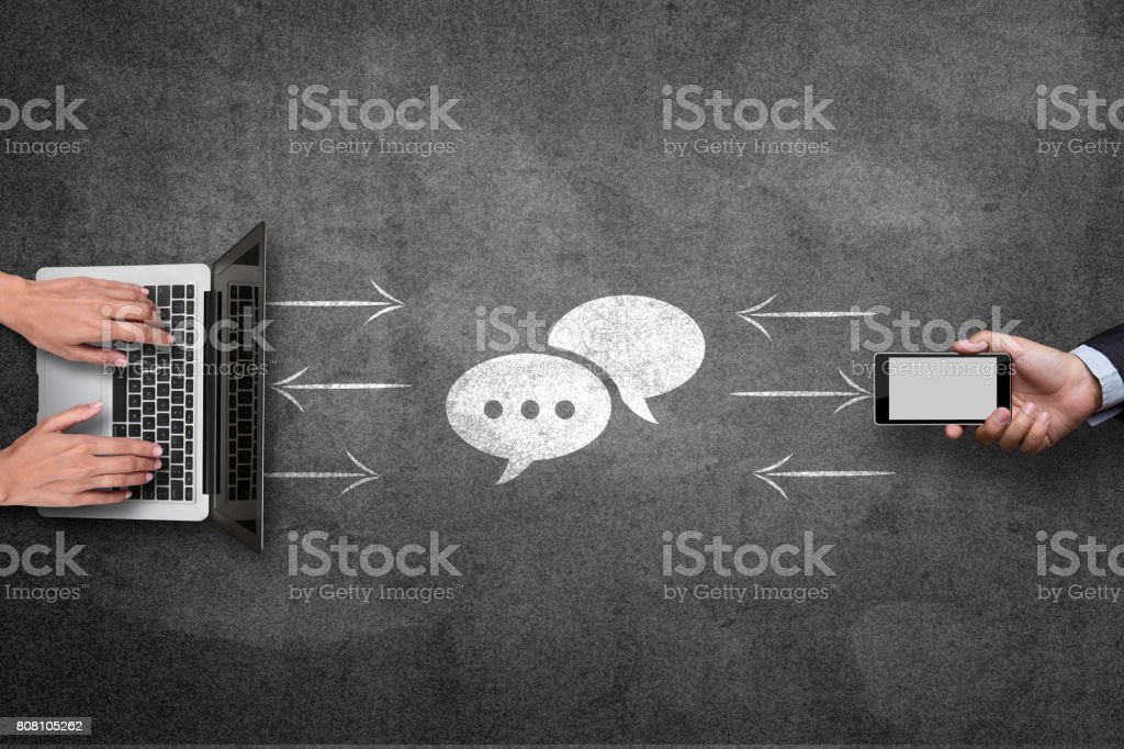 Concept of file data sharing on blackboard stock photo