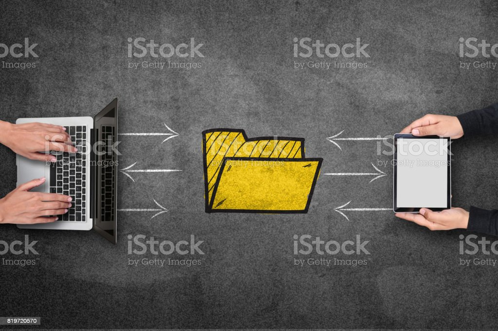 Concept of file sharing on blackboard stock photo