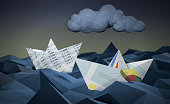 two paper boats made with financial documents on a stormy sea, concept of financial crisis, low-poly style (3d render)