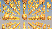 Concept of financial success, pig - piggy bank. 3D rendering.