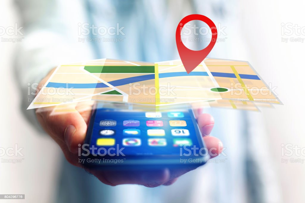 Concept of finding a place on an online map - Technology concept stock photo