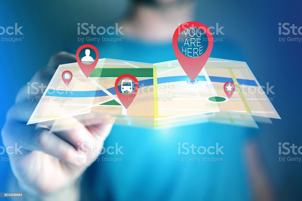 Concept of finding favorites places on an online map - Technology concept stock photo
