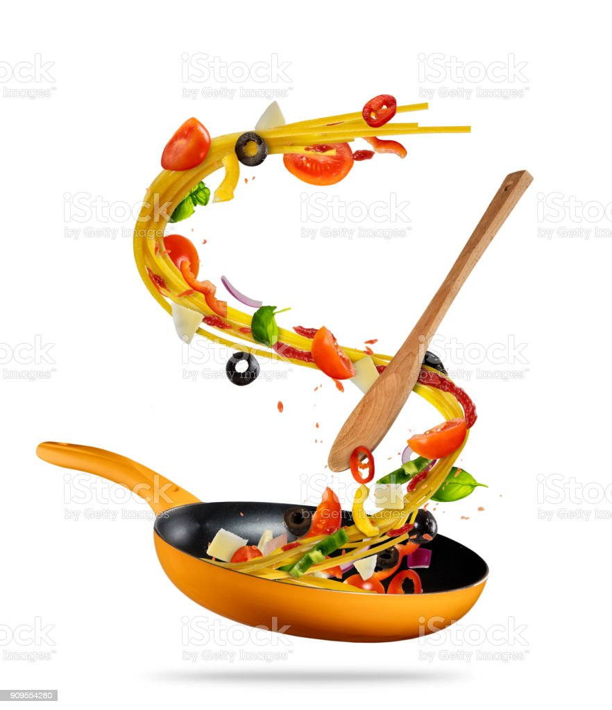 Concept Of Flying Food Preparation Of Italian Pasta Stock Photo