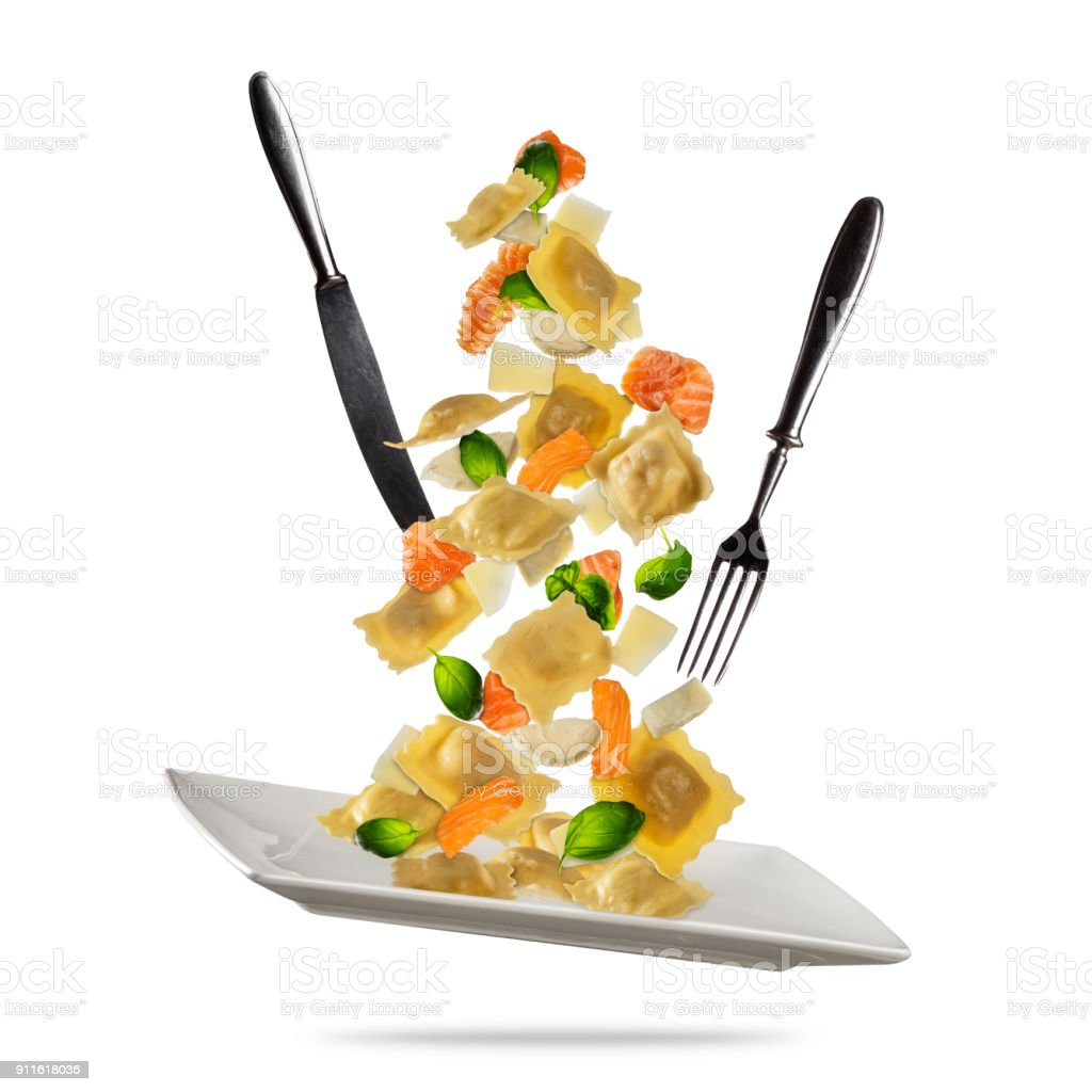 Concept Of Flying Food With Traditional Italian Ravioli And