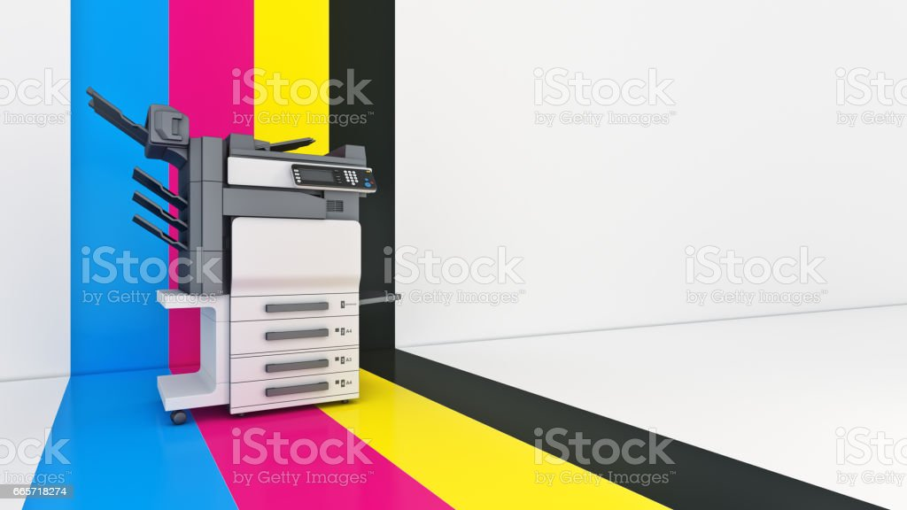 Concept of four. Color printing. 3d Rendering stock photo