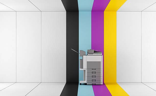 concept of four-color printing - photocopieuse photos et images de collection