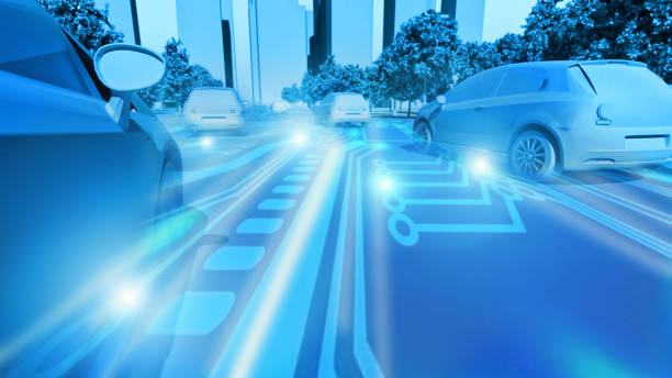Concept of future cars in smart city where transportation is automated Several electric cars drive on a big road in a smart city. The cars are driving close thanks to wireless connectivity, and the traffic is smooth. concept car stock pictures, royalty-free photos & images