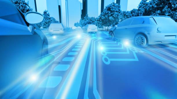 concept of future cars in smart city where transportation is automated - automobile con biodiesel foto e immagini stock
