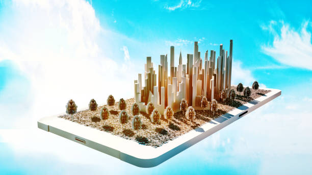 concept of future smart city in small scale on a mobile phone - smart city stock photos and pictures