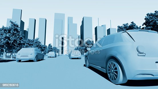 istock Concept of future smart city with electric cars and skyscrapers 989280616