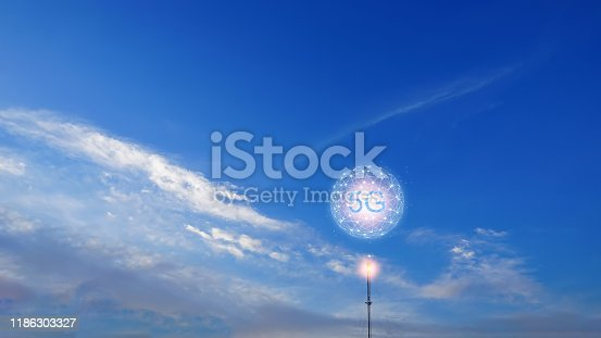 istock Concept of future technology 5G network wireless network that will control everything through electronic devices or havea short name called Internet of Things or IOT. 1186303327