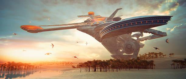 futuriste concept de séjour dans le désert - vaisseau spatial photos et images de collection