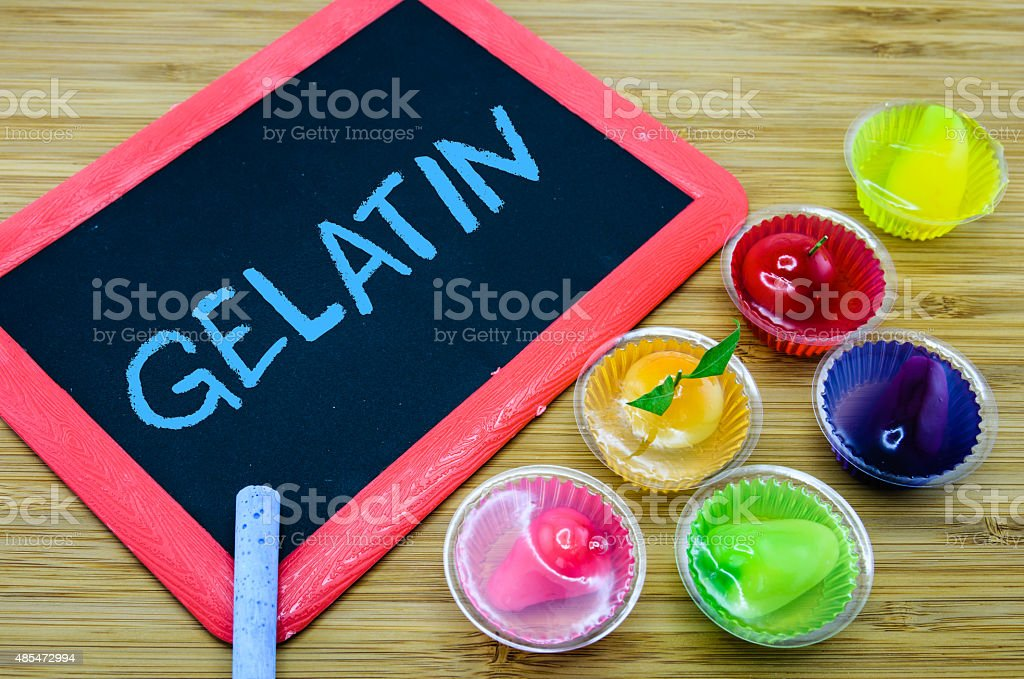 Concept of gelatin used as a gelling agent in food stock photo