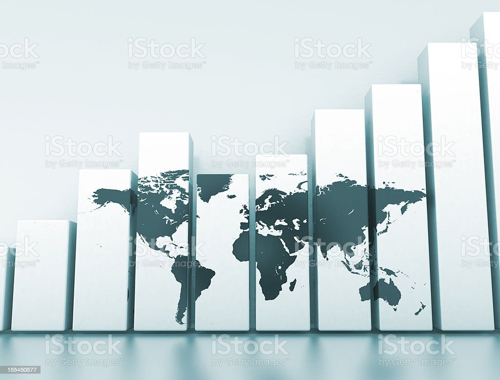 A concept of global business with a bar chart royalty-free stock photo
