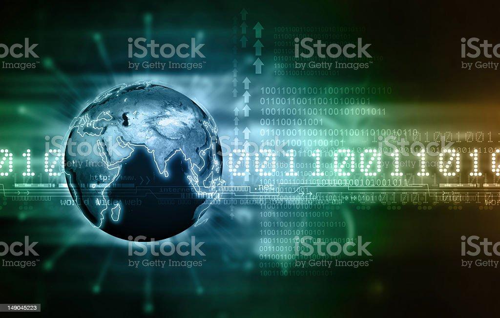 Concept of global communication via binary code royalty-free stock photo