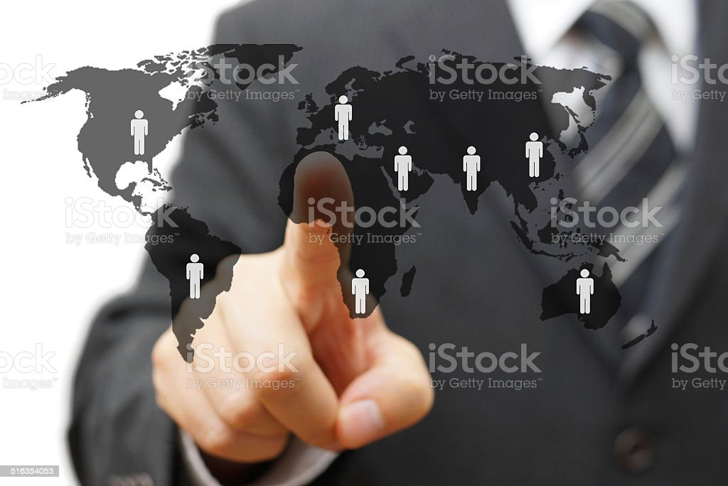 concept of global market with partners around the world stock photo