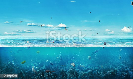 istock concept of global pollution. The sea full of garbage on the background of nature. Save the planet. 1043539556