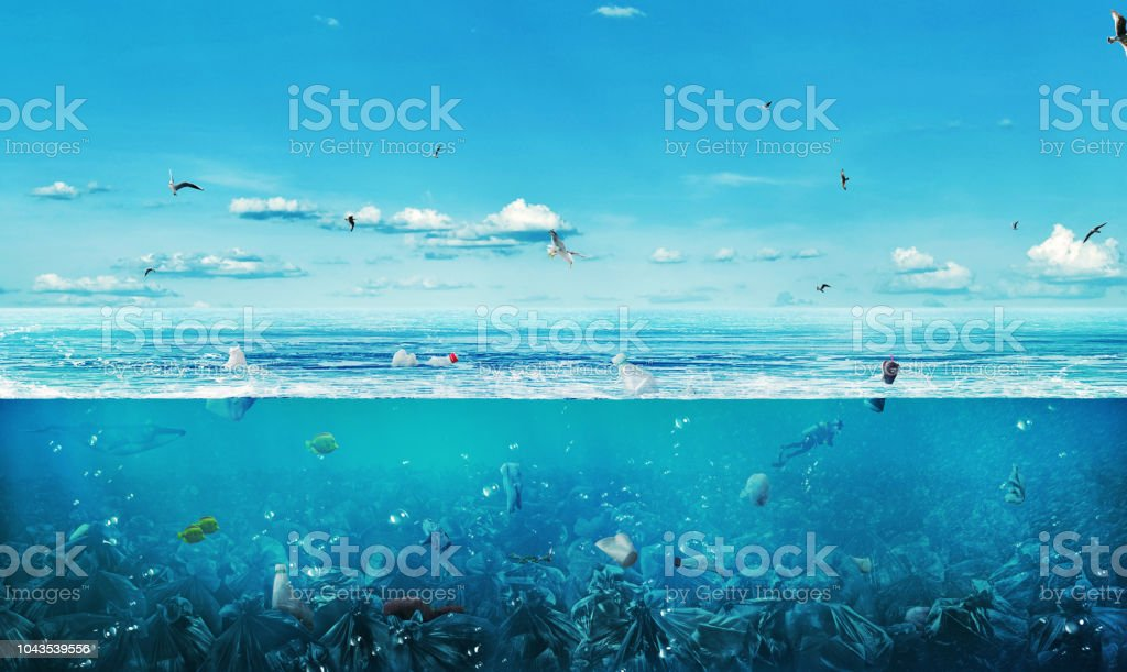 concept of global pollution. The sea full of garbage on the background of nature. Save the planet. stock photo