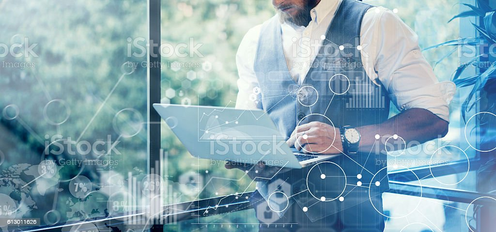 Concept of Global Strategy Virtual Screen. Diagram, Investments Interface Panel stock photo