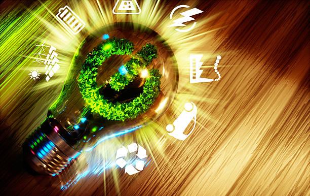 концепция зеленой энергии инновации технология. - lightning стоковые фото и изображения