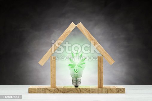 concept of ecological house. Green lamp inside a small wooden house.