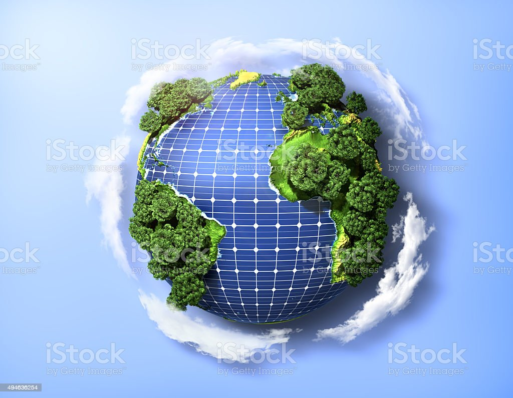 Concept of green solar energy. stock photo