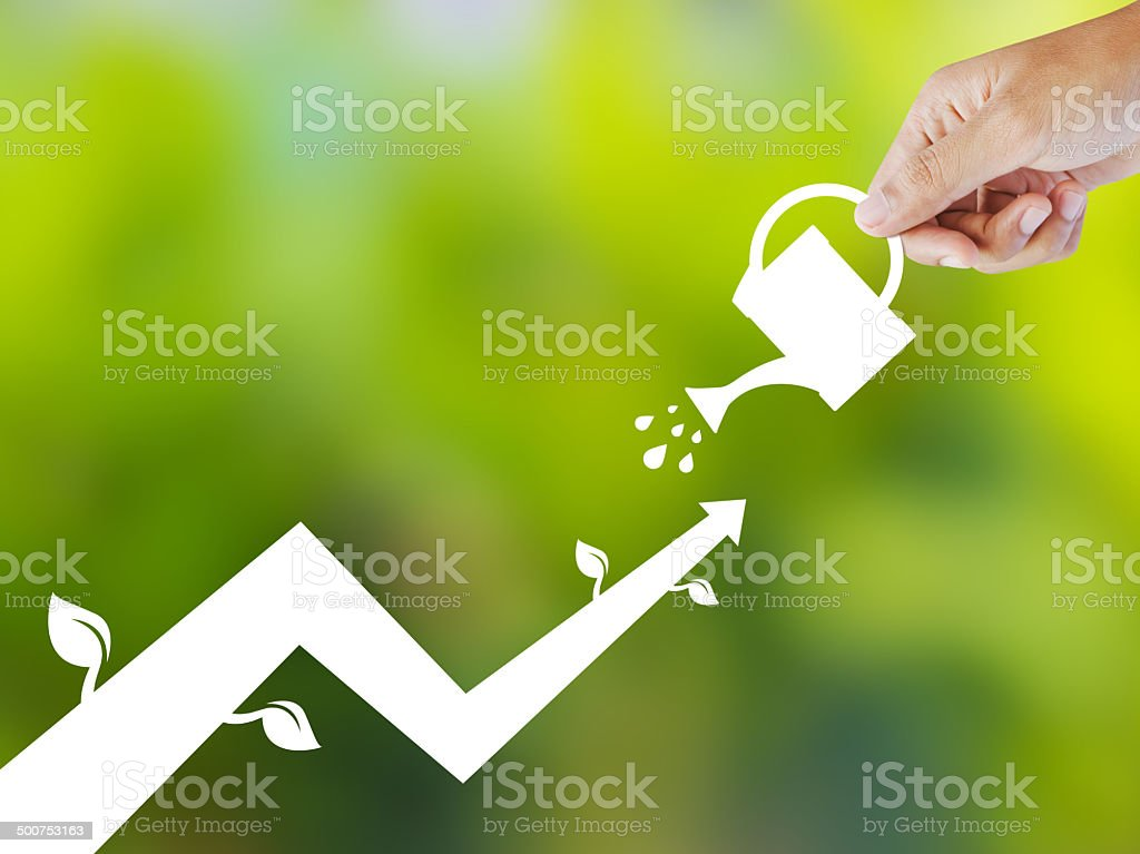 Concept of growing company with paper plant stock photo