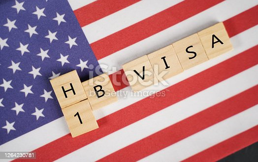 Concept of H1b Visa for foreign workers showing wooden letters with US or United states flag as background
