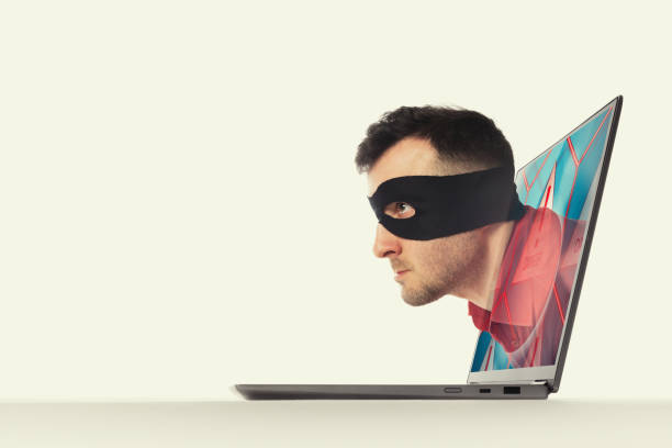 Concept of hacking and Identity theft. stock photo