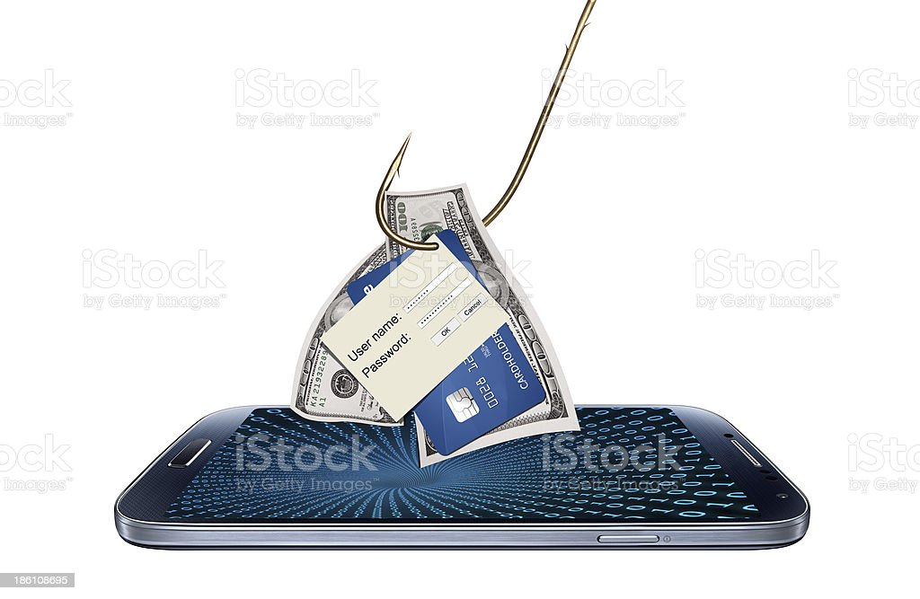 Concept of hacking or phishing with malware program stock photo