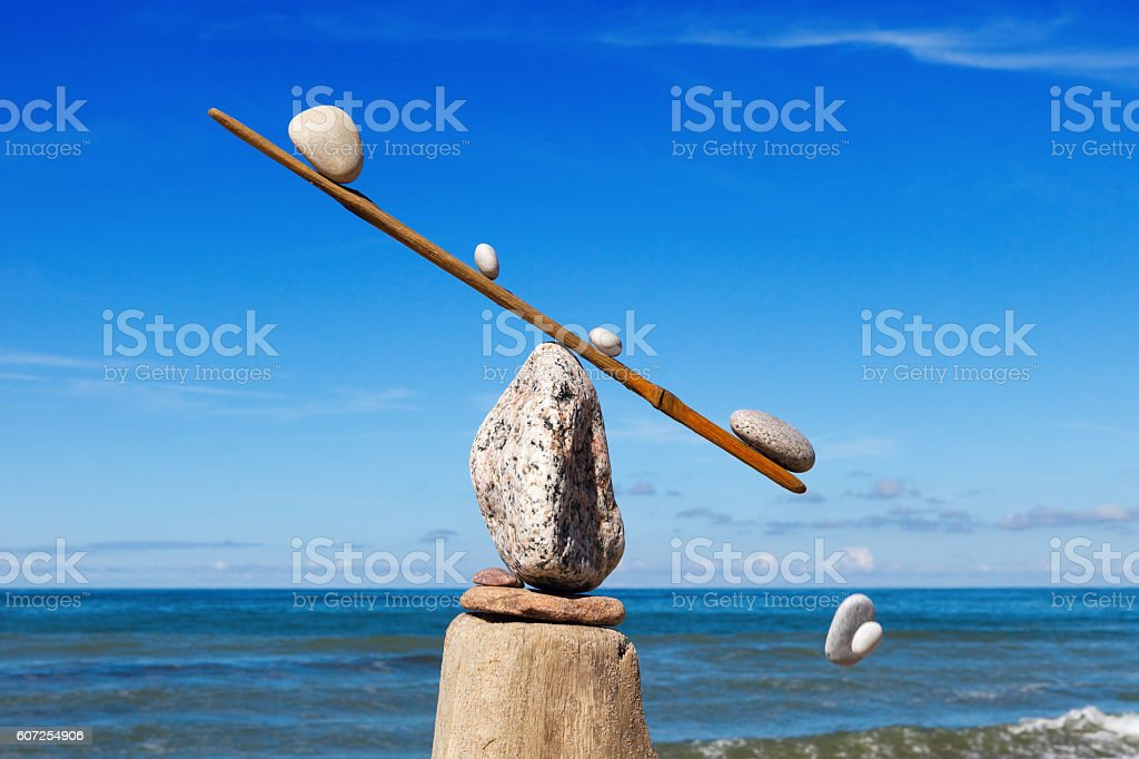 Concept of harmony and balance. The disturbed equilibrium. Imbalance. stock photo