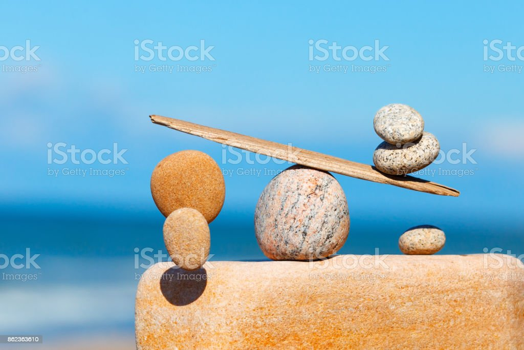 Concept of harmony and balance. The disturbed equilibrium. Imbalance stock photo