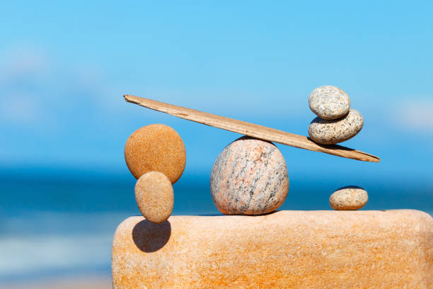 concept of harmony and balance. the disturbed equilibrium. imbalance - imbalance stock photos and pictures