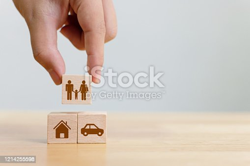 929887844 istock photo Concept of health, life, accident and travel insurance with icon healthcare, house, family, car and investment 1214255598