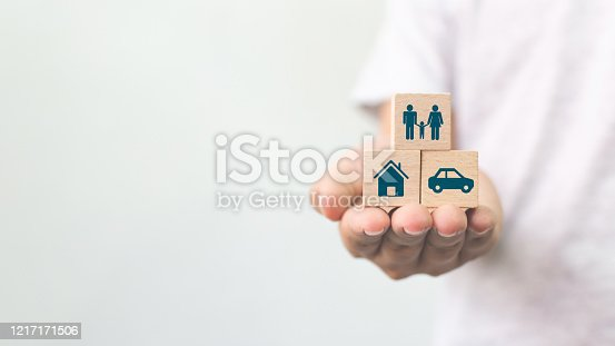 929887844 istock photo Concept of health, life, accident and travel insurance with icon healthcare, house, family, car and investment 1217171506