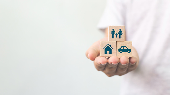 istock Concept of health, life, accident and travel insurance with icon healthcare, house, family, car and investment 1217171506