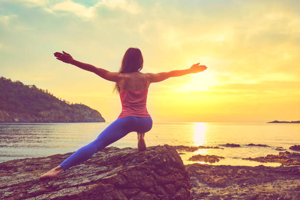 concept of healthy life and natural balance between body and mental development stock photo