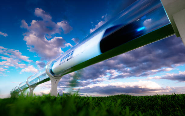 concept of high-speed traveling in a tube. 3d rendering. - train vehicle stock photos and pictures
