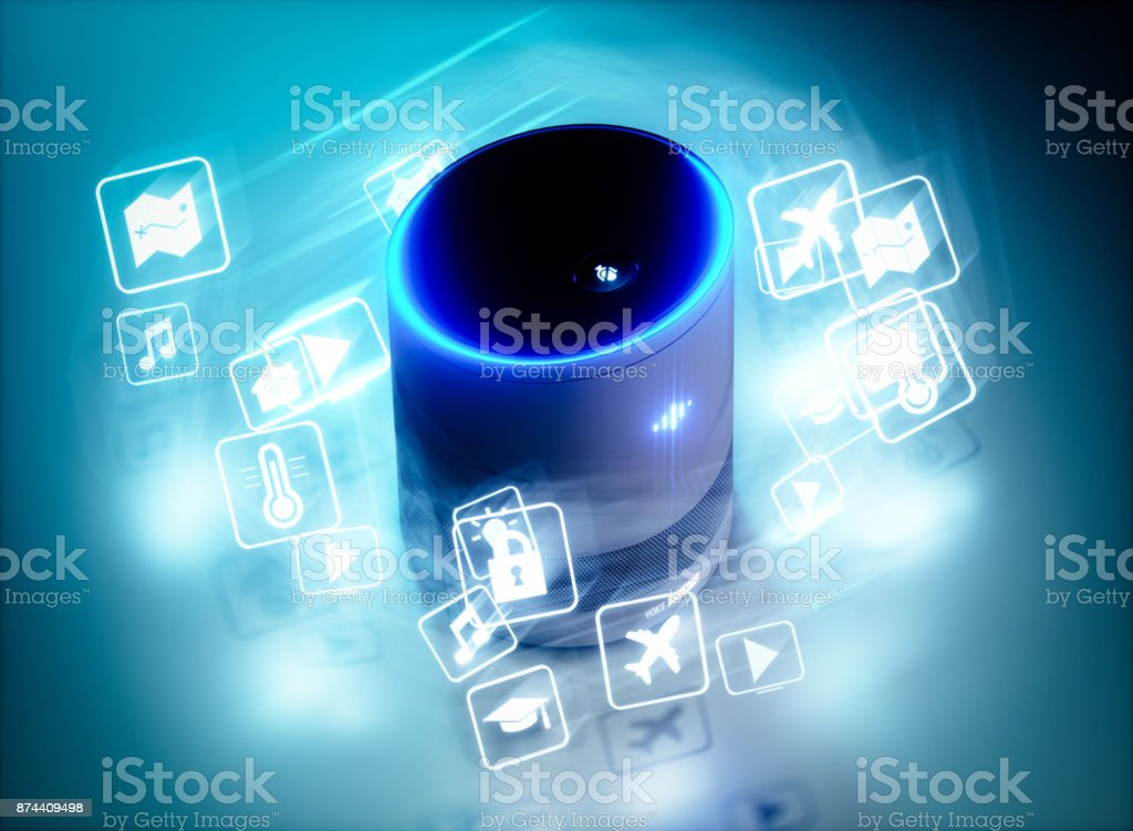 Concept of home intelligent voice activated assistant with voice command icons. 3D rendering concept of hi tech futuristic artificial intelligence speech recognition technology. stock photo