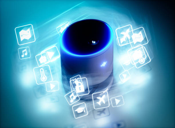 concept of home intelligent voice activated assistant with voice command icons. 3d rendering concept of hi tech futuristic artificial intelligence speech recognition technology. - assistant stock pictures, royalty-free photos & images