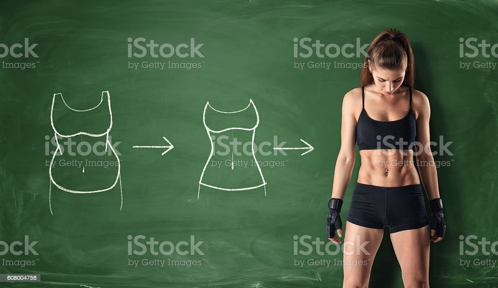 Concept of how a girl's body changing - foto de stock